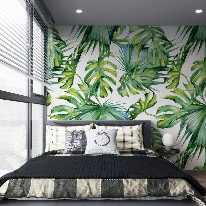 Leaves Removable Peel 'n Stick Wallpaper, Self-Adhesive Accent Wall Mural, Tropical Pattern, Nursery, Room Decor