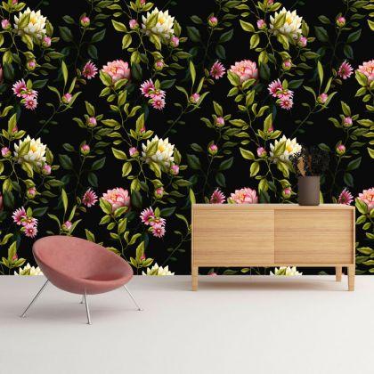 Lotus Wall Pattern Decal, Wall Decal Custom Vinyl Art Flower Stickers for Nursery, wall decor