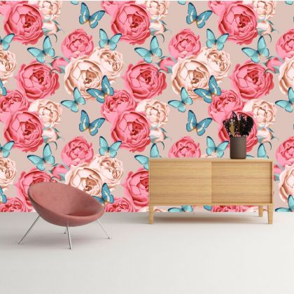 Removable Peel 'n Stick Wallpaper, Butterfly Wallpaper for Kid, Floral Wall Decor Flower Wallpaper for Girl Nursery Wall stickers