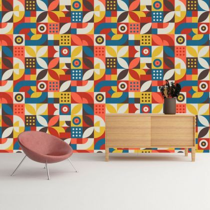 Modern Abstract Shapes Removable Wallpaper
