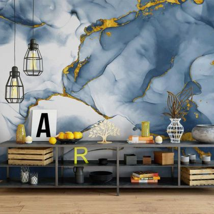 Watercolor Dark Blue Marble Wallpaper Abstract Design Non metallic Gold Removable Wallpaper Self Adhesive Peel and Stick Wall Decor