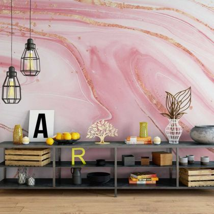Watercolor Pink and White Marble Wallpaper Abstract Design Non metallic Gold Removable Wallpaper Self Adhesive Peel and Stick For Wall Decor