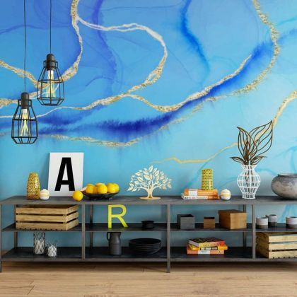 Watercolor Blue Marble Wallpaper Abstract Design Non metallic Gold Removable Wallpaper Self Adhesive Peel and Stick For Wall Decor
