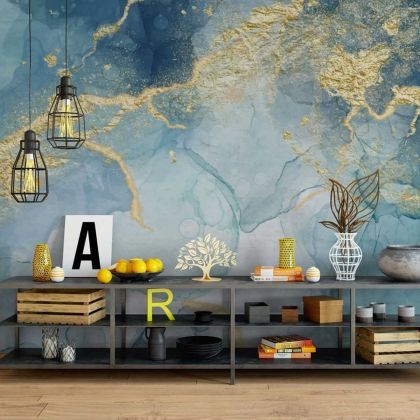 Watercolor Dark Blue Marble Wallpaper Abstract Design Non metallic Gold Removable Wallpaper Self Adhesive Peel and Stick For Wall Decor