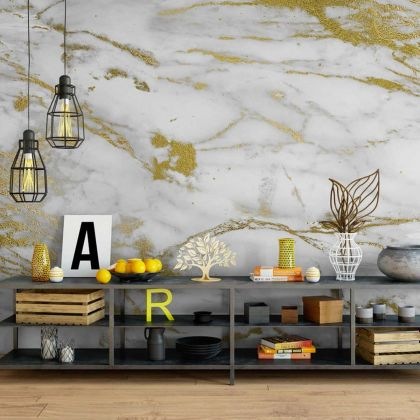 White and Gold Marble Wallpaper Abstract Design Non metallic Gold Removable Wallpaper Self Adhesive Peel and Stick For Wall Decor