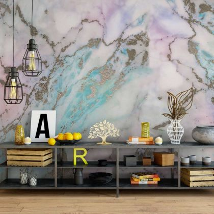Pastel Colour Marble Wallpaper Abstract Design Non metallic Gold Removable Wallpaper Self Adhesive Peel and Stick For Wall Decor