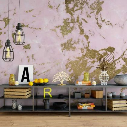 Pink and Gold Marble Wallpaper Abstract Design Non metallic Gold Removable Wallpaper Self Adhesive Peel and Stick For Wall Decor