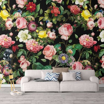 Floral Design Removable Wallpaper Self Adhesive Peel and Stick For home Wall Decoration