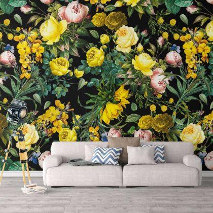 Floral Yellow Rose Design Wallpaper Floral Rose Design Removable Wallpaper