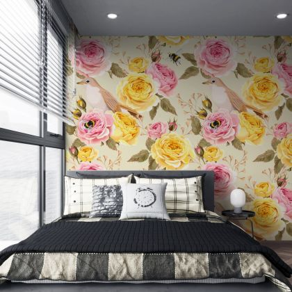 Floral Wallpaper Removable Peel and Stick Self Adhesive Watercolor Large Rose Flowers and Sparrow bird, Bees, Wall Mural Decor