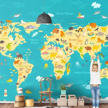 Self Adhesive Kids World Map Peel and Stick Wallpaper