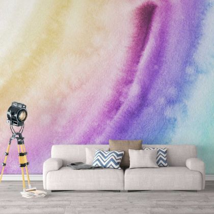 Rainbow Watercolour effect Wallpaper Rainbow Design Removable Wallpaper