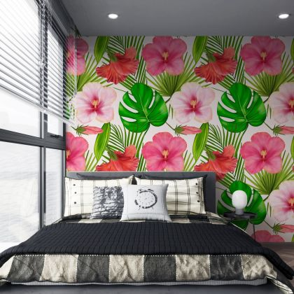 Tropical Leaves Pattern Wallpaper - Removable Wallpaper,Tropical Plants and hibiscus Flower Wallpaper, Exotic Wall Sticker