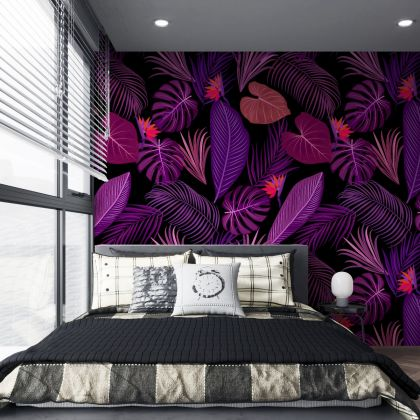 Purple Blossom Tropical Leaves Pattern Wallpaper - Removable Wallpaper,Tropical Plants Flower Wallpaper, Exotic Wall Sticker