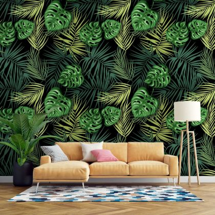 Summer Tropical Leaves Pattern Wallpaper - Removable Wallpaper,Tropical Plants Flower Wallpaper, Exotic Wall Sticker