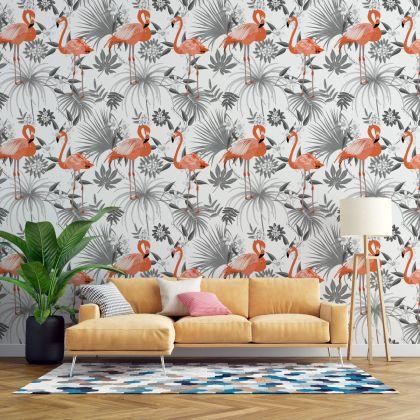 Flamingo Tropical Grey Leaves Wall Sticker, Flamingo With Leaves Wall Decal,Girls Room Wall Decal, Home Wall Decor, Bed Room Wall Decal