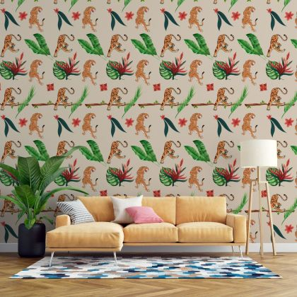 Tiger Jungle Tropical Forest Leaves Wall Sticker,Leaves Wall Decal,Girls Room Wall Decal, Home Wall Decor, Bed Room Wall Decal