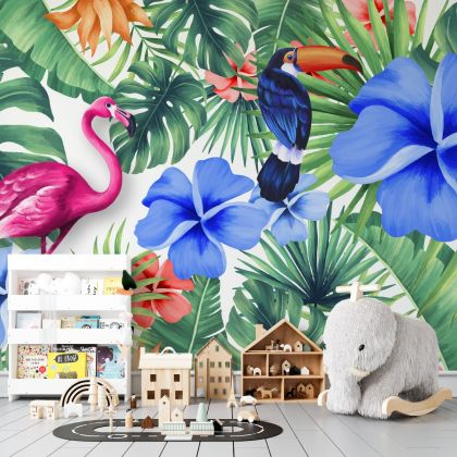 Tropical Leaves Flamingo and Toucan Removable Peel and Sticker Wallpaper