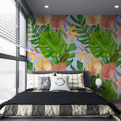 Custom Mural Wallpaper Modern Tropical Rain Forest Plants Flower Wall Painting Living Room Backdrop Wall stickers
