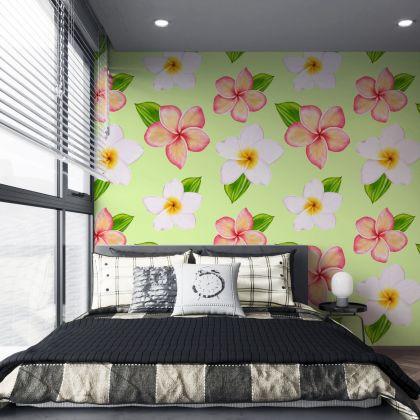 Green Flower Wall Decals, Daisy Wall Decal, Floral Wall Decals, Retro Wall Decal, Modern Wall Decor, Modern Nursery Decor