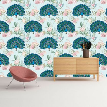 Vintage Floral Peacock Removable Wallpaper, Vintage Wall Mural