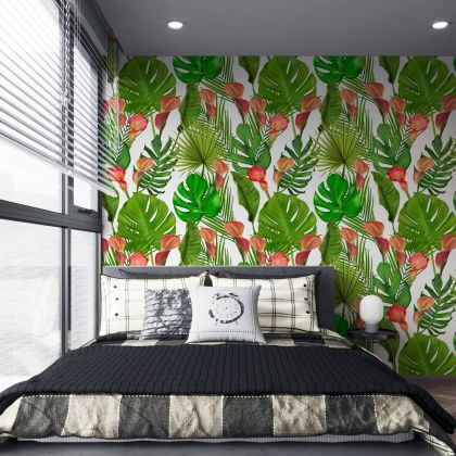Tropical Leaves Pattern Wallpaper, Removable Wallpaper,Tropical Plants and Flower Wallpaper, Exotic Wall Sticker