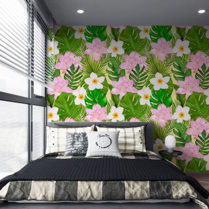 Summer Tropical Leaves Pattern Wallpaper - Removable Wallpaper,Tropical Plants Lotus, periwinkle Flower Wallpaper, Exotic Wall Sticker