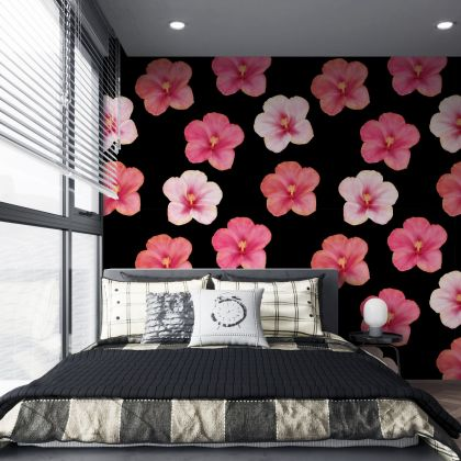 Dark Hibiscus Floral Wallpaper Removable Peel and Stick Self Adhesive, custom 2 colors decal Wall Mural Decor