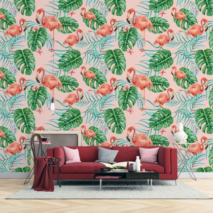 Tropical Leaves and Flowers Flamingo Removable Peel and Sticker Wallpaper