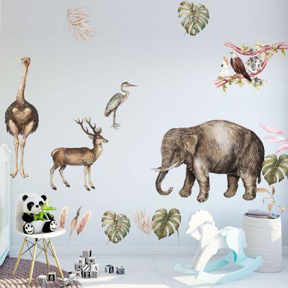 Animals Wall Stickers,Jungle Safari Animal Wall Vinyl Wall Stickers for Kids Room