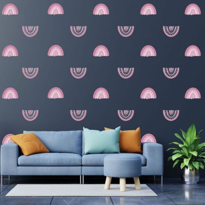 Set of 20 Pink Pastel Rainbow Wall Decals, Pink Pastel Pattern for kids room wall stickers