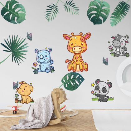 Animals Wall Sticker,Animals Tropical Leaves Vinyl Wall Stickers, Animals Decals for Kids Room