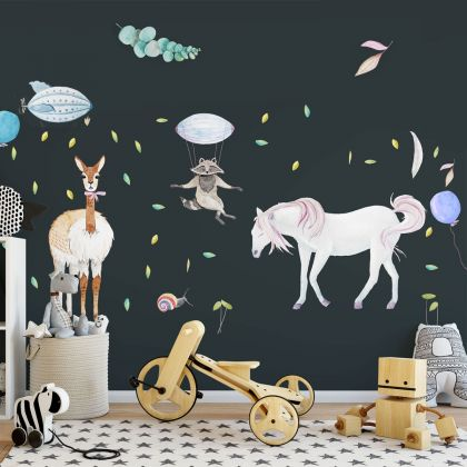 Fairy Animals Wall Sticker,Unicorn Animal Wall Vinyl Wall Stickers, Bunny Decals for Kids Room