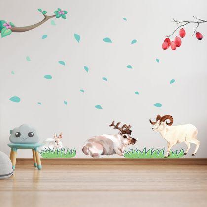 Animals Wall Sticker,Goat Vinyl Wall Stickers, Rabbit for Kids Room