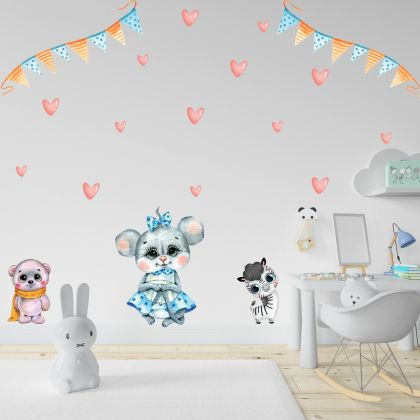 Fairy Animals Wall Sticker,Heart Vinyl Wall Stickers, Red Heart Decals for Kids Room