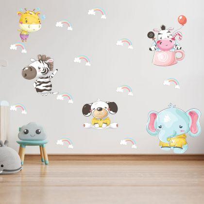 Fairy Animals Wall Sticker,Animals Vinyl Wall Stickers, Rainbow Decals for Kids Room