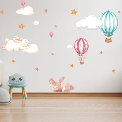 Fairy Animals Wall Sticker,Bunny Parachute Vinyl Wall Stickers, Cloud Moon Star Decals for Kids Room
