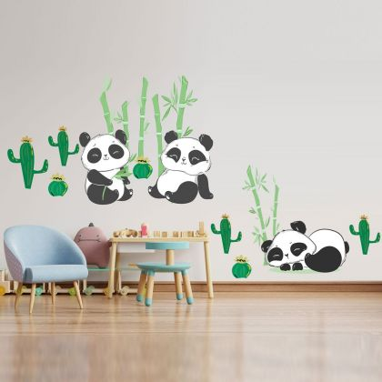Panda Bamboo Vinyl Wall Stickers, cactus Decals for Kids Room