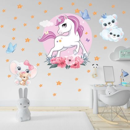 Fairy Animals Wall Sticker,Animals Vinyl Wall Stickers, Unicorn Decals for Kids Room