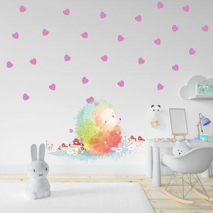 Animals Wall Sticker, Hedgehog Vinyl Wall Stickers, Heart Stickers for Kids Room