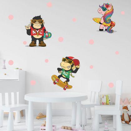 Nursery Wall Sticker, Monkey Vinyl Wall Stickers, Polka Dots Stickers for Kids Room
