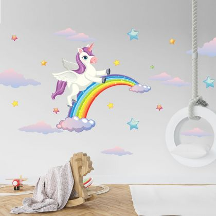 Animals Wall Sticker, Unicorn Vinyl Wall Stickers, Rainbow Stickers for Kids Room