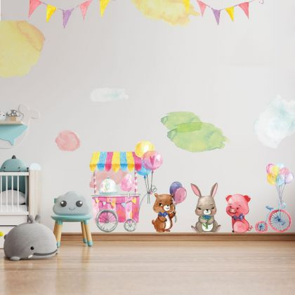 Fairy Animals Wall Sticker,Bunny Vinyl Wall Stickers, Balloons Decals for Kids Room