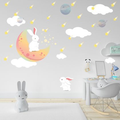 Fairy Animals Wall Sticker,Bunny Stars Vinyl Wall Stickers, Cloud Moon Star Decals for Kids Room