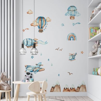 Hot Air Balloons Watercolour Wall Decals, Hills Birds Clouds kids room wall stickers