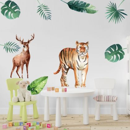 Animals Wall Stickers,Jungle Safari Animal Wall Vinyl Wall Stickers