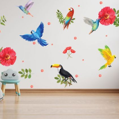 Tropical Birds Wall Stickers,Birds Safari Wall Vinyl Wall Stickers for Kids Room