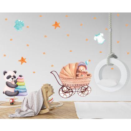 Fairy Animals Wall Sticker,Bear Pram Vinyl Wall Stickers, Stars Decals for Kids Room