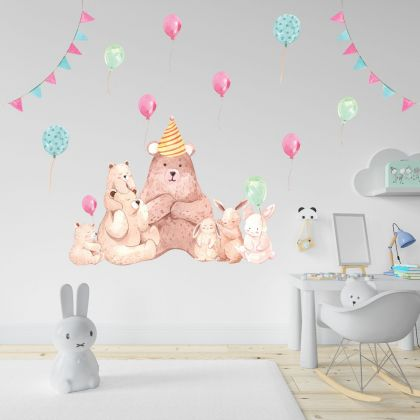Fairy Animals Wall Stickers,Bear Vinyl Wall Stickers, Balloons Decals for Kids Room