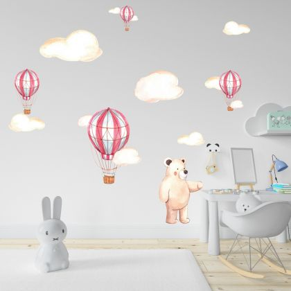 Fairy Animals Wall Sticker,Bear Vinyl Wall Stickers, Parachute Decals for Kids Room
